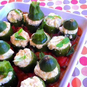 Hip Stuffed Zucchini on a Tomato Bed