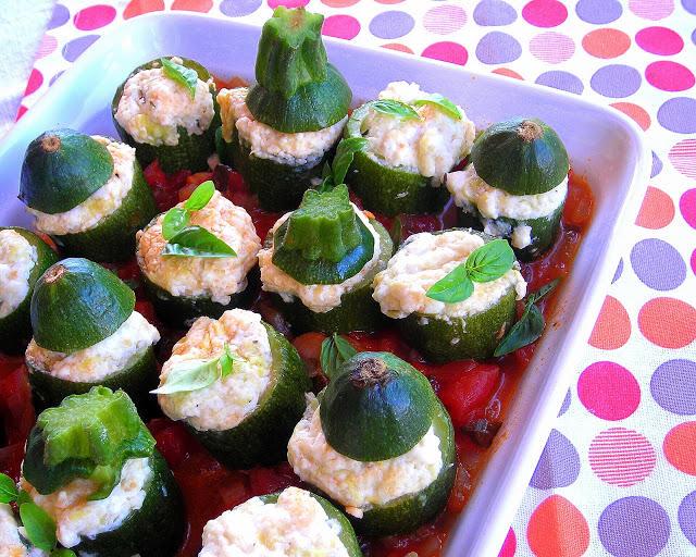 pressure cooker stuffed zucchini recipe on a platter