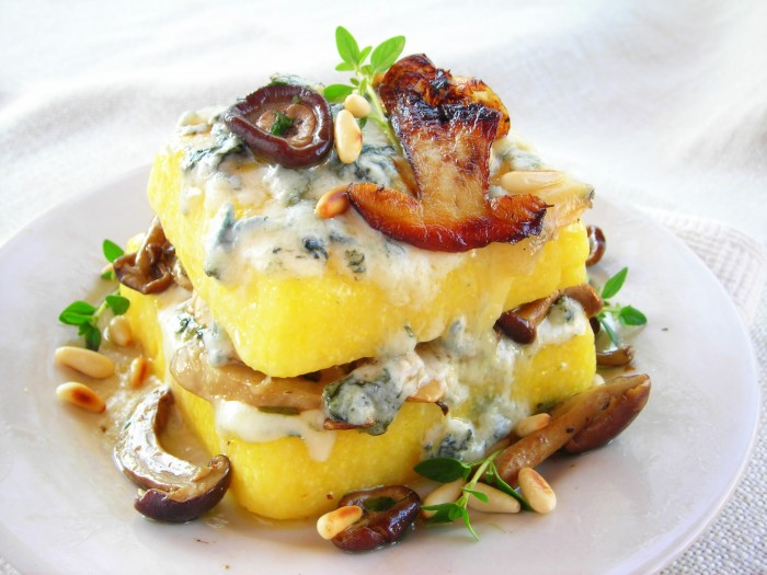 Pressure Cooker Polenta Lasagna with wild mushrooms and gorogonzola cheese