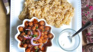 Pressure Cooked Chickpea Curry with Brown Rice (one pot meal)