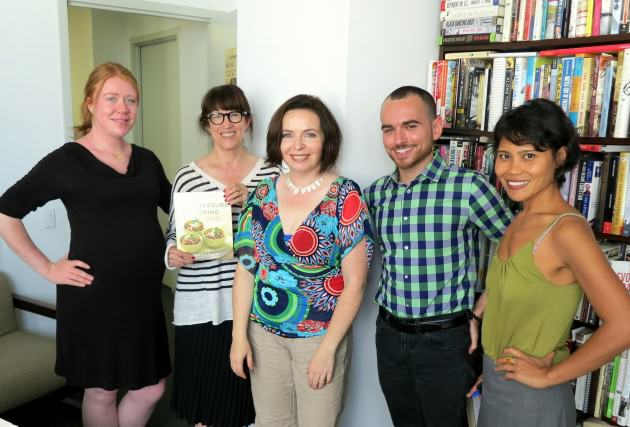 The author (middle) with some of the people from St. Martin's who built the book and are promoting, marketing and selling it.