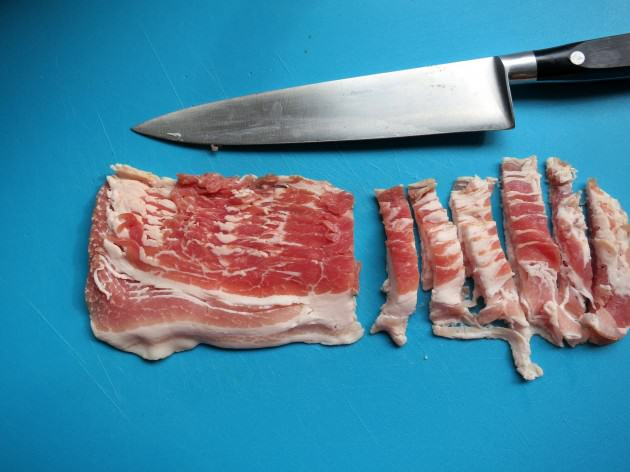 how to cut bacon into lardons