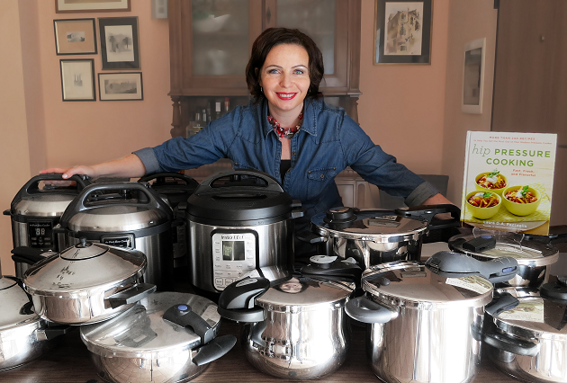 Pressure Cooker Buying Guide - Pazzaglia with a small selection of pressure cookers she receives from manufacturers.
