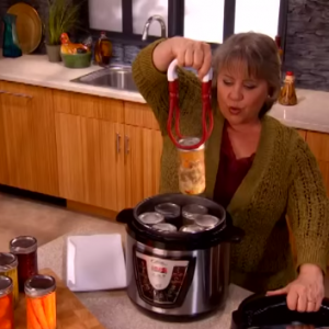 Excerpt from Power Pressure Cooker XL Infomercial shows woman pressure canning meat and vegetables. DO NOT DO THIS!