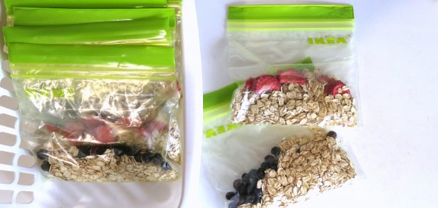 I make my own pre-measured variety packs of oatmeal: Plain, Blueberry and Strawberries