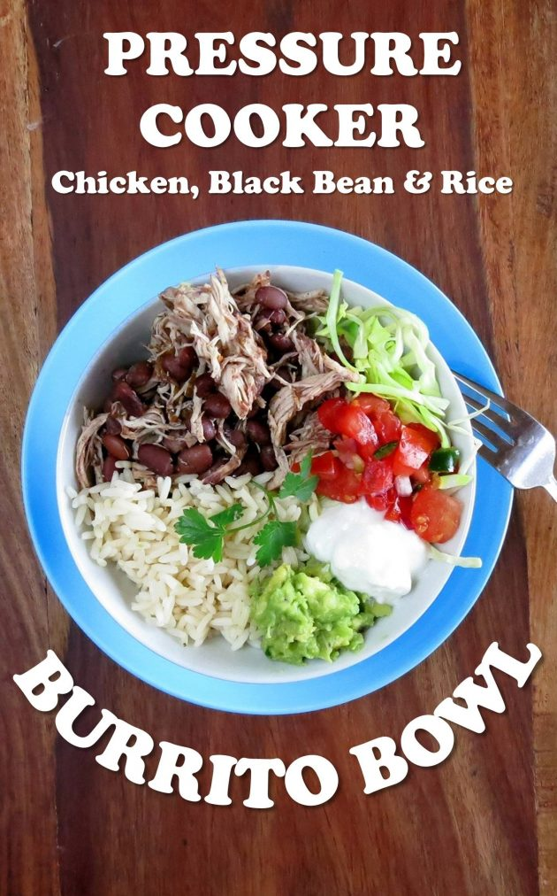 One Pot Pressure Cooker Chicken Burrito Bowl - Chicken, Black Beans and Rice all pressure cooked TOGETHER!