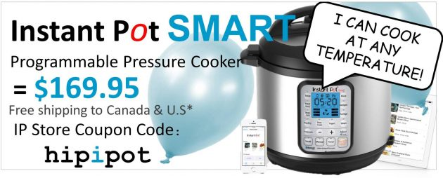 Coupon for Instant Pot SMART million-in-1 pressure cooker with Bluetooth technology for $169.95 and free shipping from the Instant Pot Store using discount code: hipipot