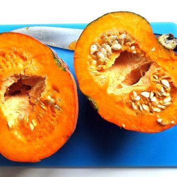 Halve the pumpkin.