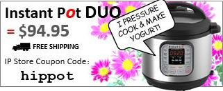Instant Pot DUO for $94.95 and free shipping using  discount code: hippot